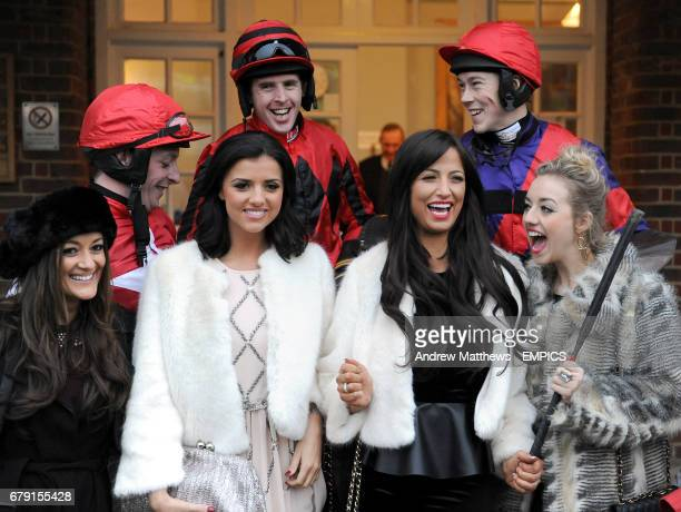 Chantelle Houghton Lucy Mecklenburgh and Kelsey Hardwick pose with jockeys Jason Maguire James Davies Jamie Moore and Colin Bolger