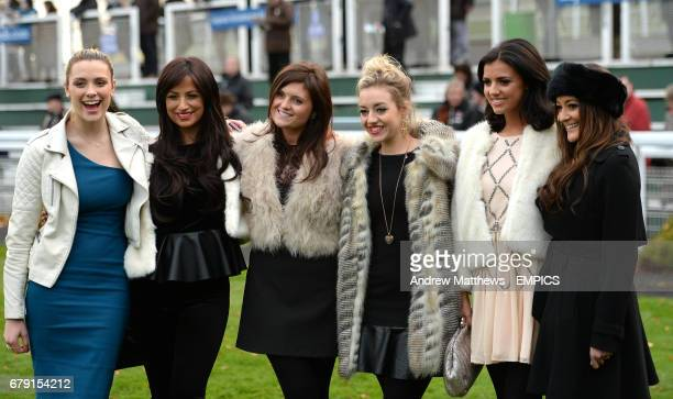 Chantelle Houghton Wallis Day Kelsey Hardwick and Lucy Mecklenburgh during day one of the Tingle Creek Christmas Festival at Sandown Roacecourse