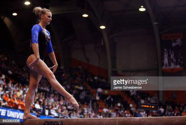 Chantelle Tousek of the University of Florida competes in the balance beam during the Division I Women's Gymnastics Super Six Championship held at...