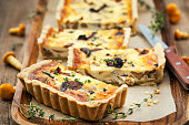 Chanterelle mushroom, cheese and thyme homemade delicious tart (quiche)