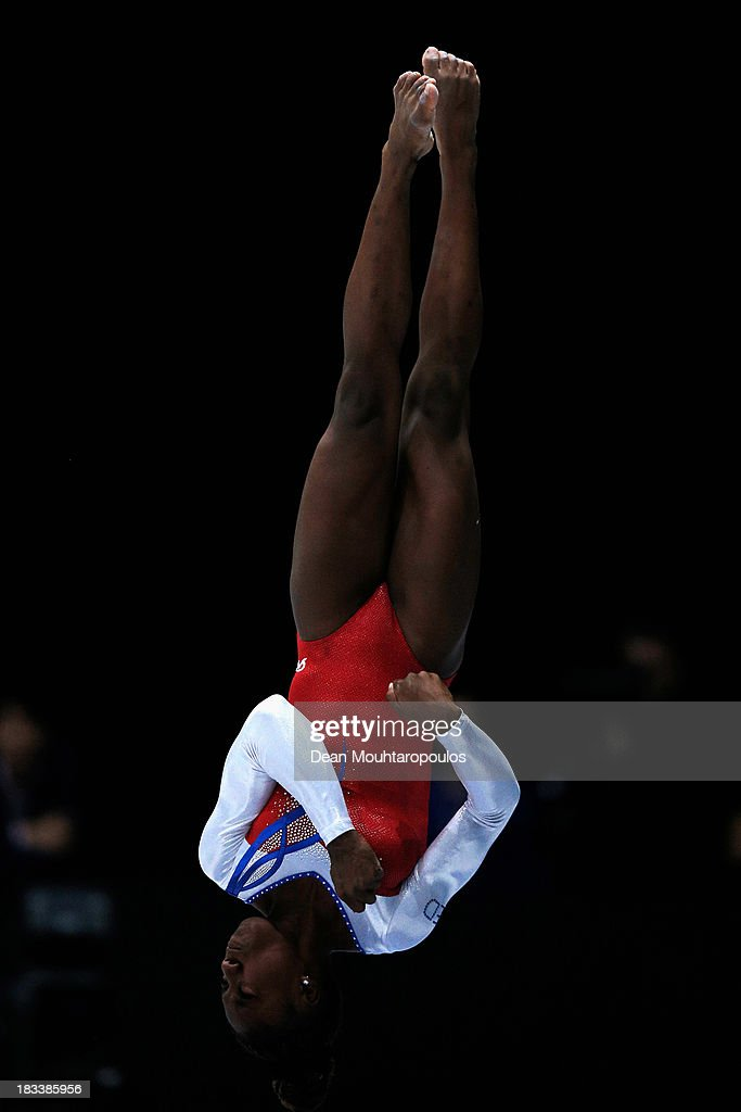 Chantysha Netteb of the Netherlands competes in the Vault Final on Day Six of the Artistic Gymnastics World Championships Belgium 2013 held at the Antwerp Sports Palace on October 5, 2013 in Antwerpen, Belgium.
