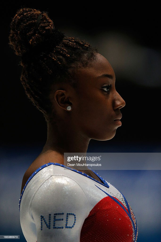 Chantysha Netteb of the Netherlands looks on before she competes in the Vault Final on Day Six of the Artistic Gymnastics World Championships Belgium 2013 held at the Antwerp Sports Palace on October 5, 2013 in Antwerpen, Belgium.