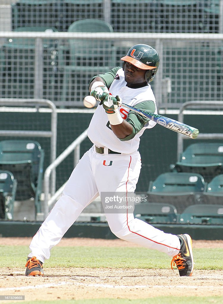 Chantz Mack #2 of the Miami Hurricanes hits the ball against the Clemson Tigers in the seventh inning on April 21, 2013 at Alex Rodriguez Park at Mark Light Field in Coral Gables, Florida. Miami defeated Clemson 7-0.