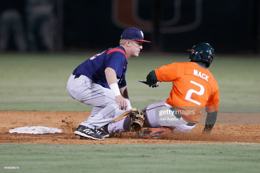 Chantz Mack #2 of the Miami Hurricanes is tagged out by <a gi-track='captionPersonalityLinkClicked' href=/galleries/search?phrase=Robert+Buckley&family=editorial&specificpeople=981297 ng-click='$event.stopPropagation()'>Robert Buckley</a> #42 of the Florida Atlantic Owls as he attempts to steal second base on March 27, 2013 at Alex Rodriguez Park at Mark Light Field in Coral Gables, Florida. Florida Atlantic defeated Miami 6-1.
