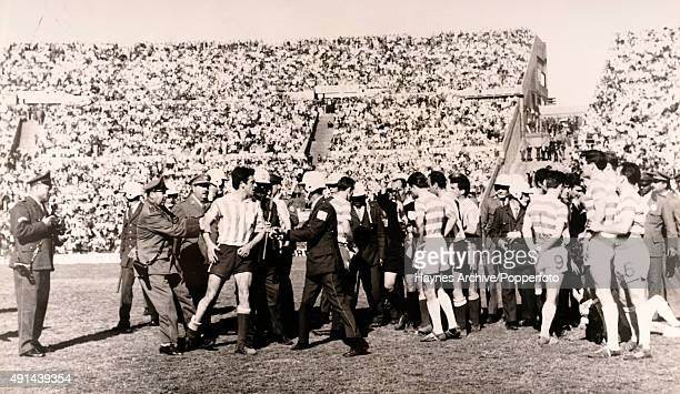 Chaos on the field during the deciding match in the Intercontinental Cup between Racing Club of Buenos Aires and Glasgow Celtic at the Estadio...