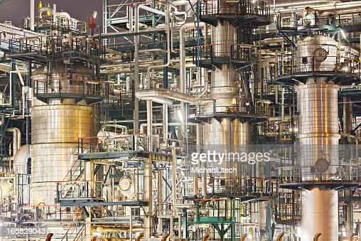 Chaotic Refinery Detail At Night