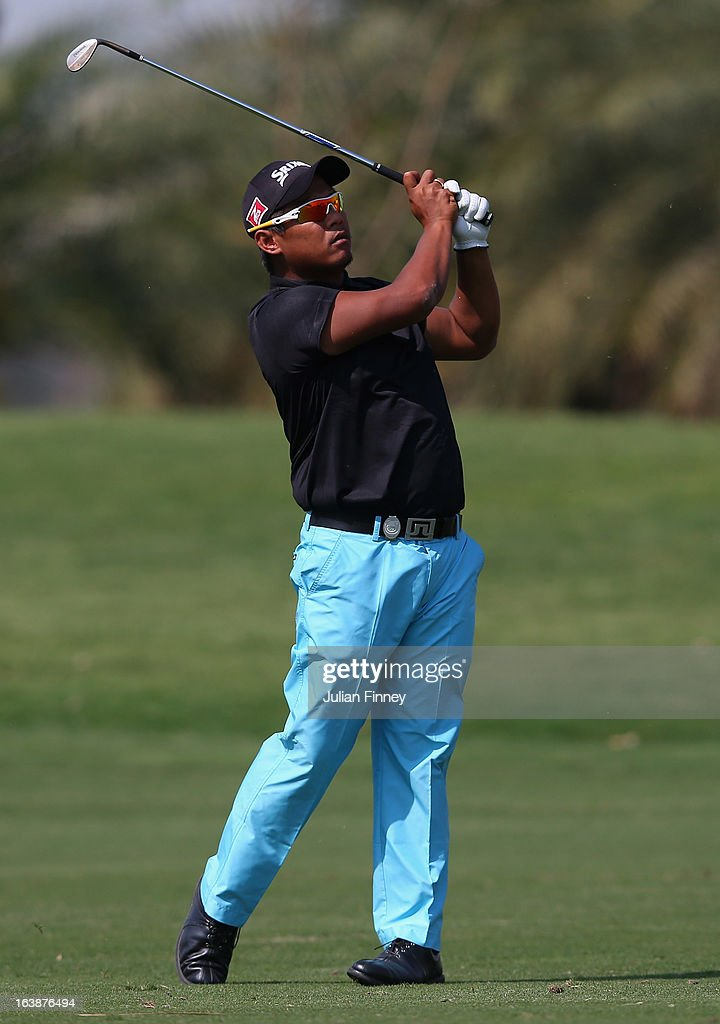 Chapchai Nirat of Thailand in action during day four of the Avantha Masters at Jaypee Greens Golf Club on March 17, 2013 in Delhi, India.