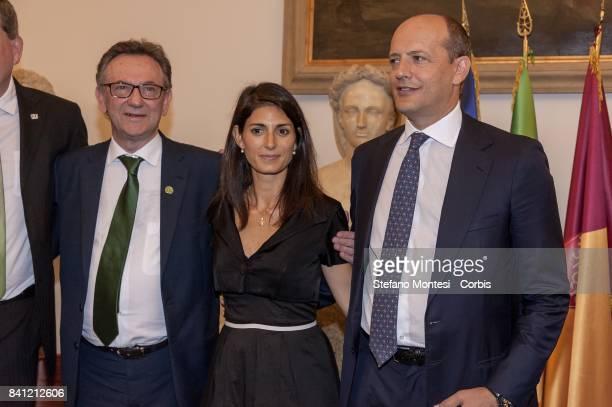 Chapecoense soccer team president Plinio Davide De Nes Filho with Rome's Mayor Virginia Raggi and the Director General of As Roma Mauro Baldissoni...