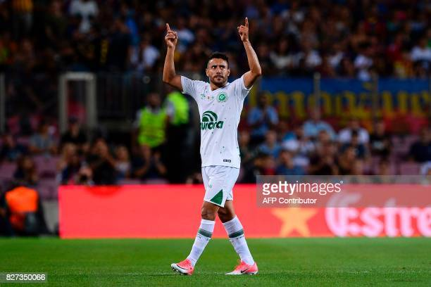 Chapecoense's defender Alan Ruschel gestures during the 52nd Joan Gamper Trophy friendly football match between Barcelona FC and Chapecoense at the...