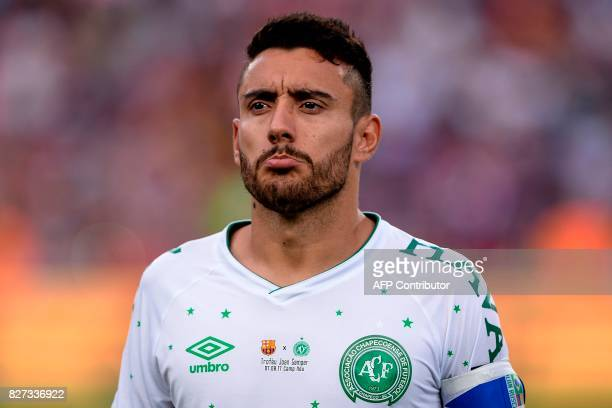 Chapecoense's defender Alan Ruschel looks on during the 52nd Joan Gamper Trophy friendly football match between Barcelona FC and Chapecoense at the...