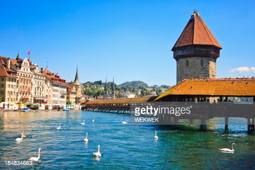 Chapel Bridge on River Reuss, Lucerne, Switzerland