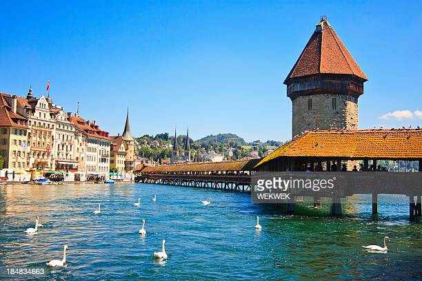 Chapel Bridge am Fluss Reuss, Luzern, Schweiz