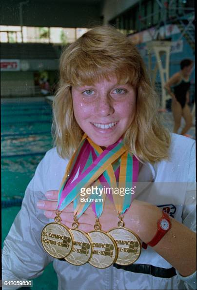 Chapel Hill North Carolina Sarah Anderson a 17yearold freestyler from Riverside California proudly displays the 4 gold medals 7/16 that she has...