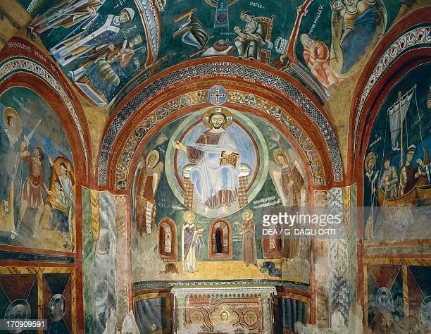 Chapel of Saint Eldrad and Saint Nicholas with Romanesque frescoes in Byzantine style late 11th century Novalesa Abbey Piedmont Italy