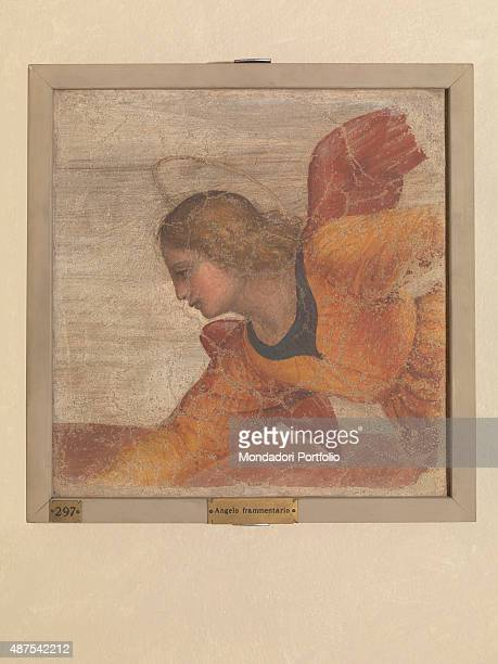 Chapel of St Joseph by Bernardino Luini 16th Century fresco Italy Lombardy Milan Pinacoteca di Brera Detail Angel with halo looking down