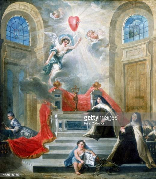 Chapel of the Carmelites Paris 1783 Above the altar an angel reveals the Sacred Heart pierced with a sword which appears in rays of hevenly light and...