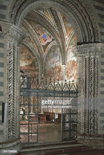Chapel of the Madonna di San Brizio with frescoes by Giovanni da Fiesole known as Fra Angelico and Luca Signorelli Cathedral of Orvieto Italy...