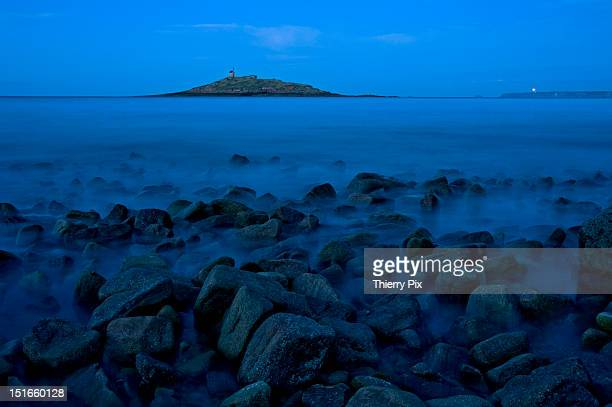 Chapel on island on blue hour
