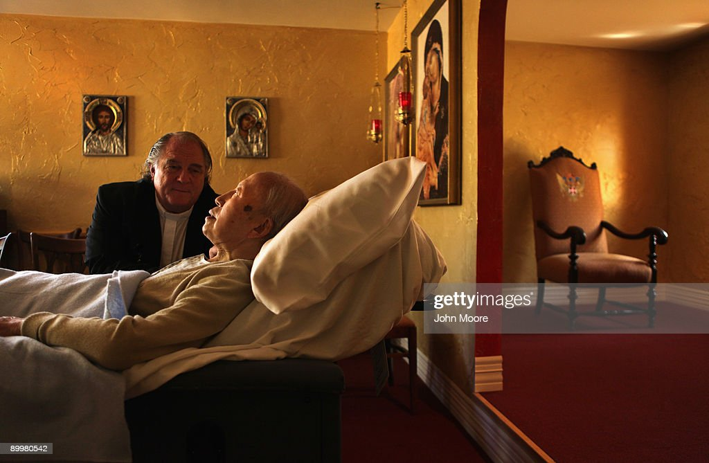 Chaplain Larry Grimm sits with terminally ill hospice resident Chiu Ning Yuan, 89, in the chapel of the Hospice of Saint John on August 20, 2009 in Lakewood, Colorado. The non-profit hospice, the second oldest in the United States, accepts the terminally ill regardless of their ability to pay, although most residents are covered by Medicare. End of life care has become a contentious issue in the current national health care debate. Hospice administrators point out that their care costs about one third the price of hospital care, and that they concentrate on helping residents to enjoy the final stage of their lives.