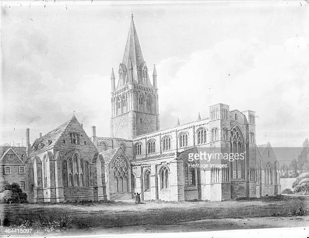 Chapter House and south east corner of Christ Church Cathedral Oxford Oxfordshire c1800c1850 Towering above the cathedral is one of the oldest spires...