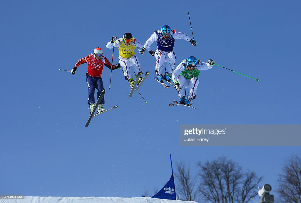 JF Chapuis, Arnaud Bovolenta, Jonathan Midol of France and Brady Leman of Canada make a jump in the final during the Mens Ski Cross Freestyle Skiing at Rosa Khutor Extreme Park on February 20, 2014 in Sochi, Russia.