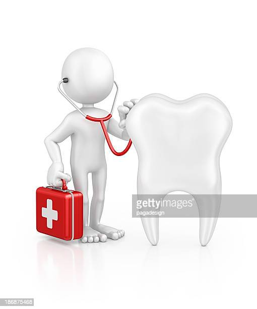 character doctor examine tooth