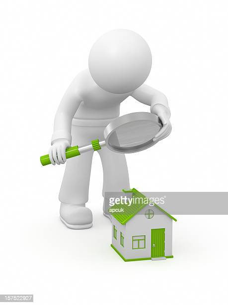 3D character examining small house.