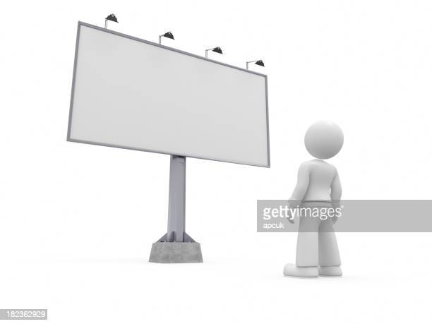 3D character looking at billboard.