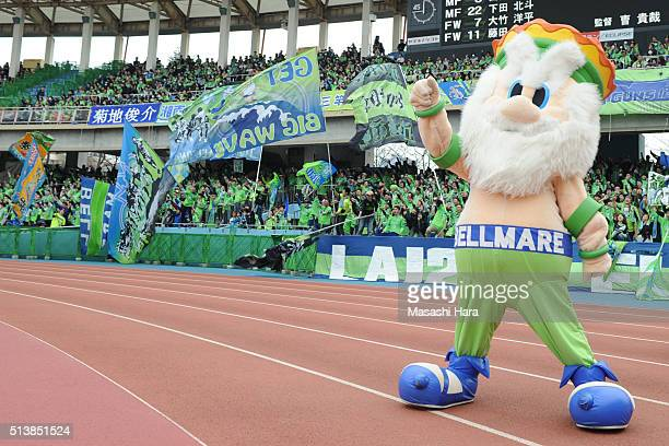 Character of Shonan Bellmare pose for photograph prior to the JLeague match between Kawasaki Frontale and Shona Bellmare at the Todoroki Stadium on...