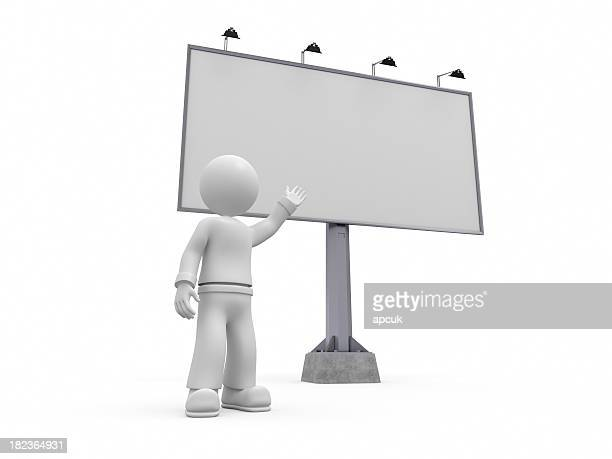 3D character pointing blank billboard.