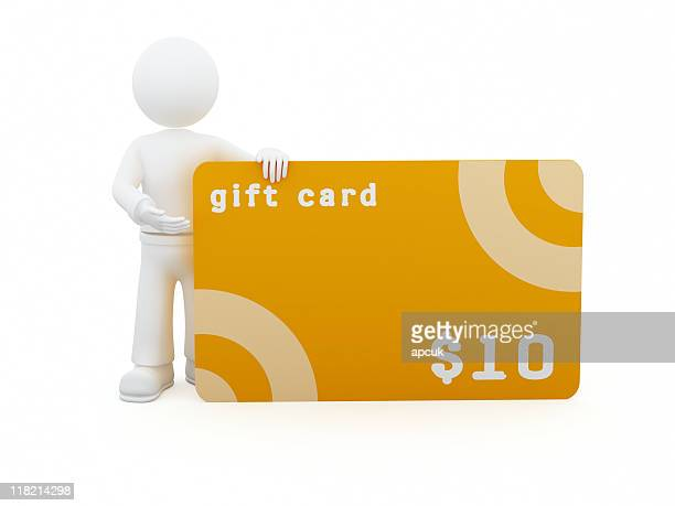 Personnage 3D avec une carte-cadeau de 10 $.