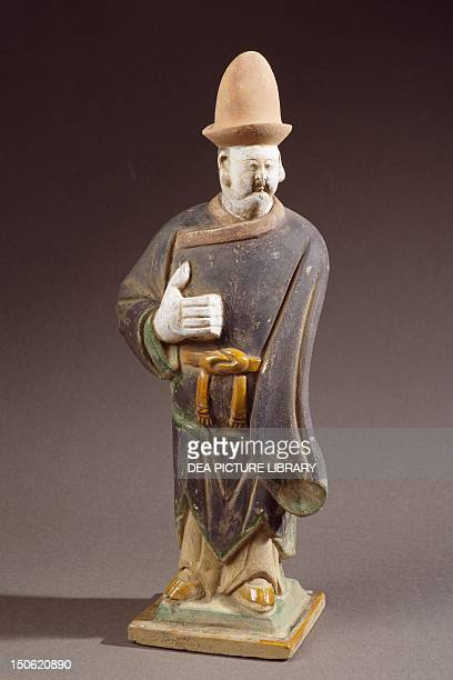 Character with a big hand symbol of his power enamel terracotta statue height 46 cm China Chinese Civilisation Ming dynasty mid17th century