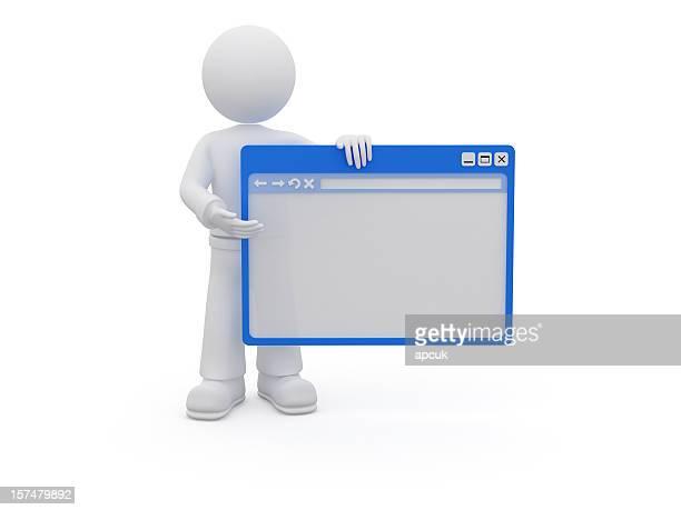 3 D Charakter mit browser-Fenster.