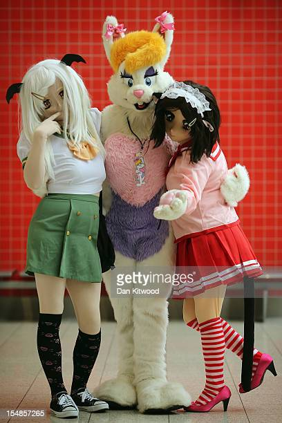 Characters from Euro Kigurumi pose for pictures ahead of the MCM London Comic Con Expo at ExCel on October 26 2012 in London England Visitors to the...