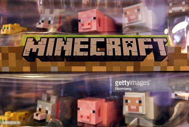 Characters from game Minecraft produced by Mojang AB sit displayed for sale during the EGX gaming conference at Earls Court in London UK on Thursday...