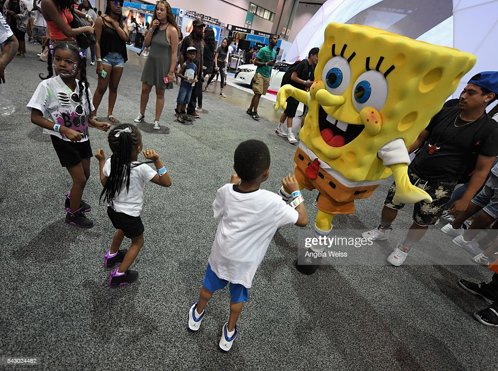 Characters from 'Spongebob Squarepants' appear at FAN FEST during the 2016 BET Experience on June 25, 2016 in Los Angeles, California.