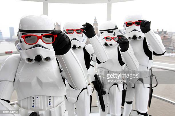 Characters from Star Wars pose for a photocall to promote the release of Star Wars Episode 1 The Phantom Menace 3D at The London Eye on February 8...