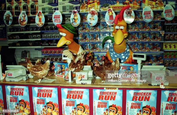 Characters from the film Chicken Run Rocky and Ginger at Woolworth's Edgware Road in London for the launch of the film on video and DVD