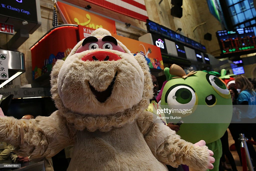 Characters from the game Candy Crush are seen on the floor of the New York Stock Exchange (NYSE), in honor of the mobile gaming company King holding its initial public offering at the NYSE on March 26, 2014 in New York City. King is the maker of the popular mobile game Candy Crush.