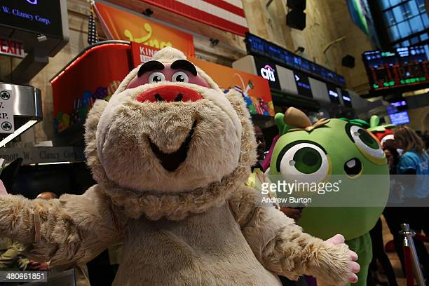 Characters from the game Candy Crush are seen on the floor of the New York Stock Exchange in honor of the mobile gaming company King holding its...
