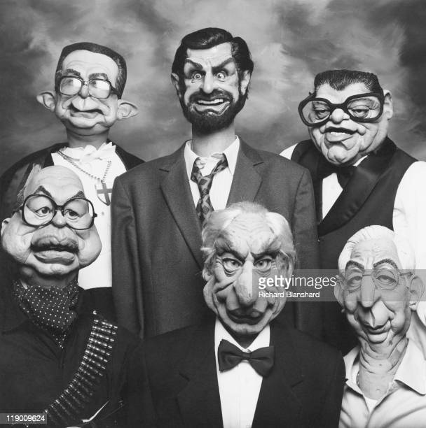 Characters from the satirical British puppet show 'Spitting Image' circa 1985 They include Italian politicians Giulio Andreotti Giovanni Goria...