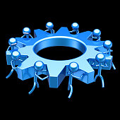 characters gear wheel partnership blue, human resources cooperation concept. business process, teamwork cogwheel. team work men turning gearwheel. 3d rendering on black