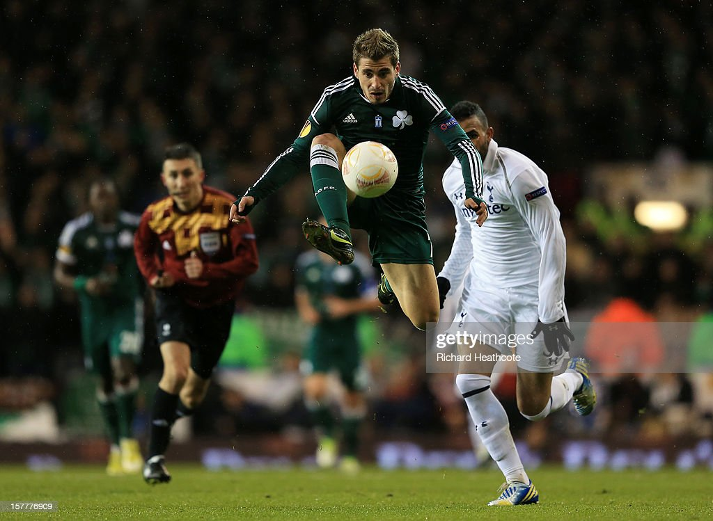 Charalambos Mavrias of Panathinaikos controls the ball during the UEFA Europa League Group J match between Tottenham Hotspur and Panathinaikos at White Hart Lane on December 6, 2012 in London, England.