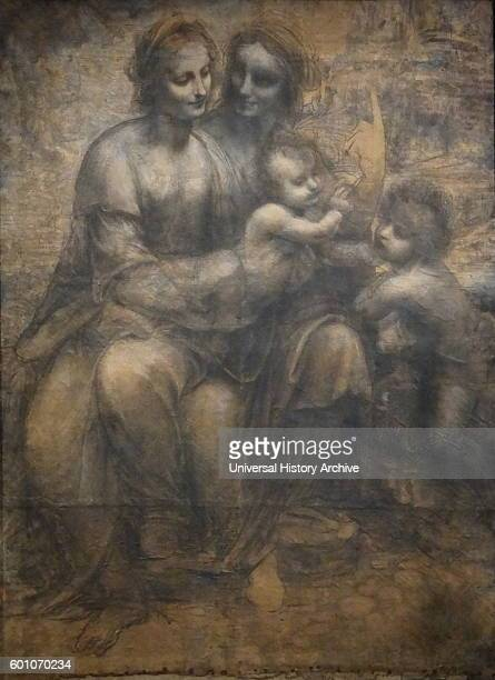 Charcoal and chalk sketch titled 'The Virgin and Child with Saint Anne and Saint John the Baptist' by Leonardo da Vinci an Italian polymath inventor...