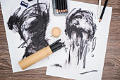 charcoal paintings and painting equipment