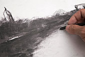 A hand painting charcoal art