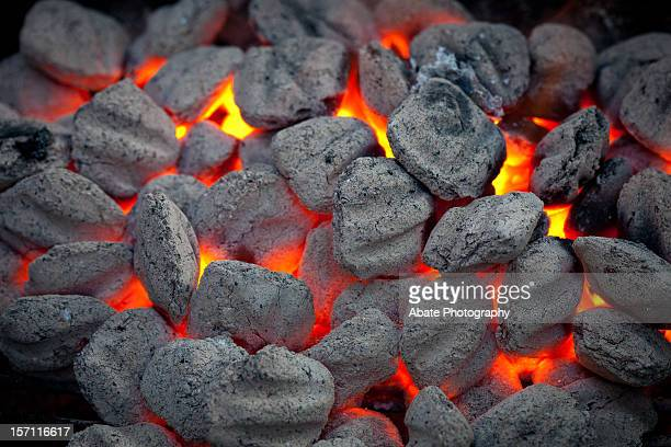 Charcoal in Grill Glowing Red