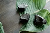 Zen-like tropical plant leaves and pieces of coal for activated charcoal powder detox on rustic wood background with room for copy space conceptual health and wellness art photography