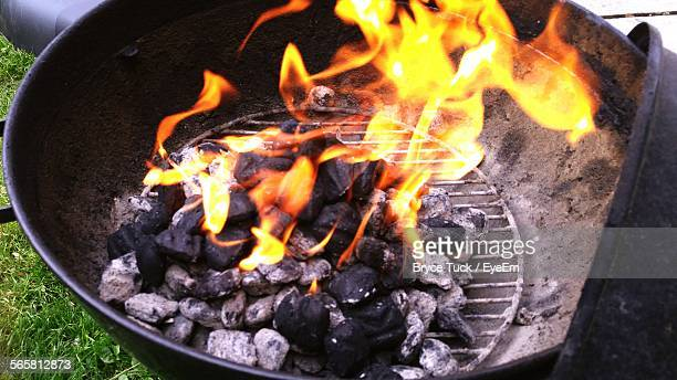 Charcoal On Fire In Barbecue Grill