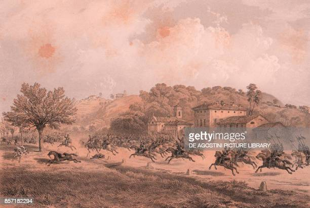 Charge of Piedmontese cavalry at Ginestrello Battle of Montebello Lombardy Second War of Independence lithograph by Carlo Perrin from the drawing by...
